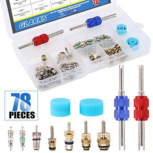 Glarks 78Pcs Car Air Conditioner Valve Core Schrader Valve Cores Accessories A/C R12 R134a Refrigeration Tire Valve Stem with Double Head Remover Installer Tool Assortment Kit