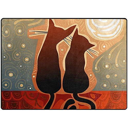 Trista Bauer Large Area Teppiche 60 'x 39' Katzen im Mondlicht Bodenmatte Zeitgenössische Lightweight Stain Resistant Lightweight