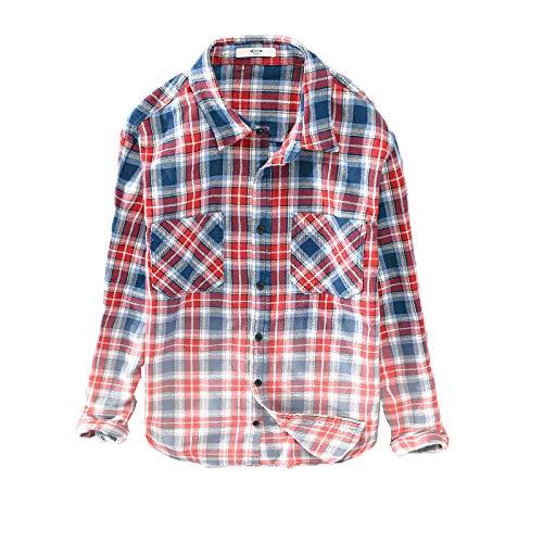 Camisa de Solapa para Hombre, Estampado a Cuadros, Bloqueo de Color, Doble Bolsillo, algodón, cómoda y Transpirable, Camisa de Manga Larga de Calidad Large