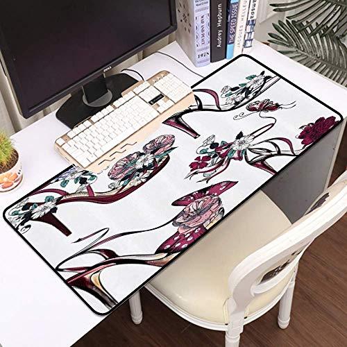 Tbagem-Yjr Gaming Mouse Mat, Gran Alfombrilla de ratón Flor Mariposa en Zapatos de tacón Alto Stall Chicas Mujeres Moda Femenina, Cosidas Edges Gaming Mouse Pad Mat Smoother Cómodo (Color : Style4)