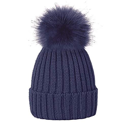 LIVERPOOL ENTERPRISES LTD Gorro Mujer de Punto con Pom Pom, para Invierno (Azul)