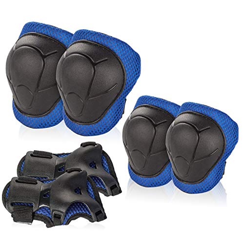 BOSONER Kids/Youth Knee Pad Elbow Pads Guards Protective Gear Set for Roller Skates Cycling BMX Bike Skateboard Inline Skatings Scooter Riding Sports (Blue/Black)