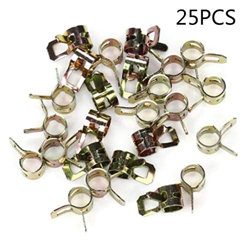 """Tool Parts 25pcs 1/4"""" Fuel Line Clamps Fits 1/2"""" Hose Universal Spring Action Lawn Mower"""