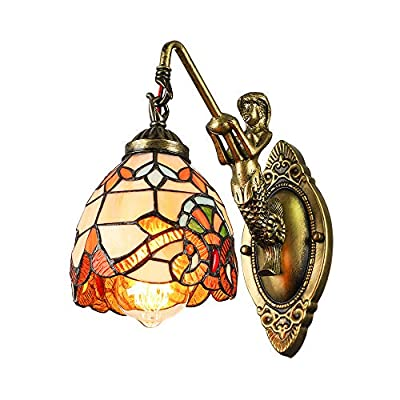 LITFAD Single Light Tiffany Stained Glass Shade Victorian Wall Sconce with Mermaid Lamp Arm Bedroom Hotel Restaurant Decorative Wall Lamp