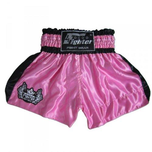 4Fighter Muay Thai Short Classic in Rosa-Nero, Dimensioni:S