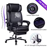 VANBOW Big and Tall Reclining Leather Office Chair - High Back Executive Computer Desk Chair with Adjustable Built-in Lumbar Support, Angle Recline Locking System and Footrest, Black