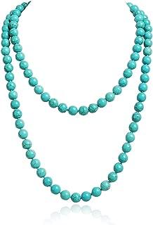 JANE STONE Fashion Faux Turquoise Necklace Acrylic 5-Row Multi-Layered Collar Women