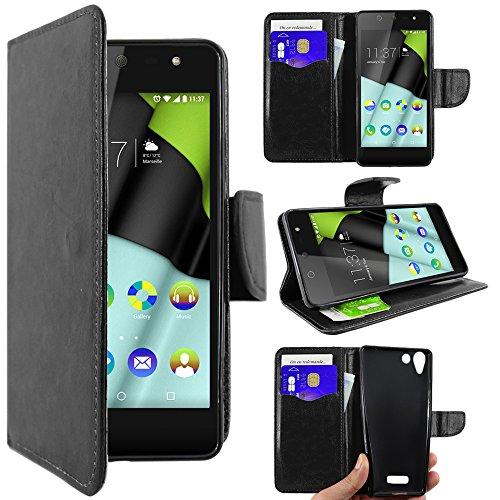 ebestStar - kompatibel mit Wiko Selfy 4G Hülle Kunstleder Wallet Case Handyhülle [PU Leder], Kartenfächern, Standfunktion, Schwarz [: 141 x 68.4 x 7.7mm, 4.8'']