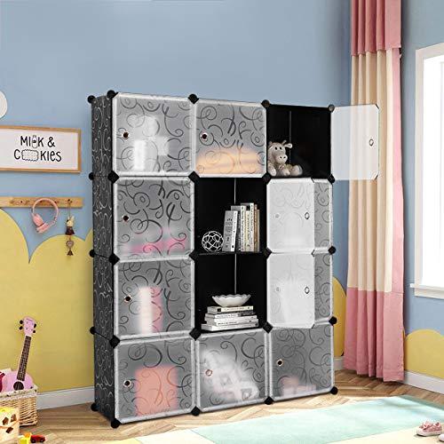 LDAILY Moccha Clothes Storage Cubes, Portable Clothes Closet Wardrobe Cabinet Bedroom Armoire, DIY Storage Organizer Closet