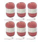 Ovillo de lana para tejer y ganchillo mezclado 3ply suave set rosa 6 bolas paquete clásico sedoso