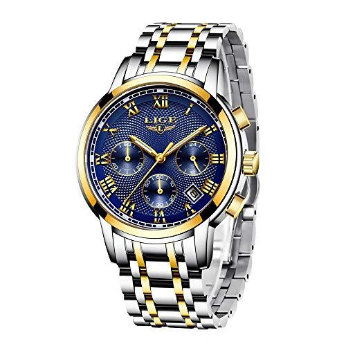 LIGE Uhr Herren Edelstahl Wasserdicht Sport Analog Quarzuhr Mode Chronograph Kalender Geschäfts Kleid Armbanduhr Männer Gold Blau
