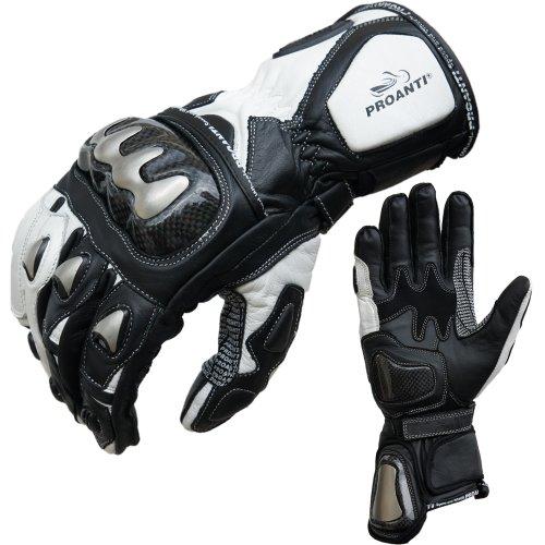 PROANTI Guantes de moto Racing Pro para moto, color blanco (S)