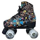 AYLS Patins À roulettes, Unisexe Extérieure Haute Performance Rebound Quad Roller Speed Style Patins À Chaussures pour Extérieur Patinage,37