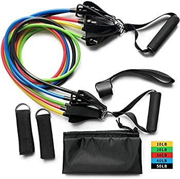 11-Pieces theCover 150LB Resistance Bands Set with Door Anchor