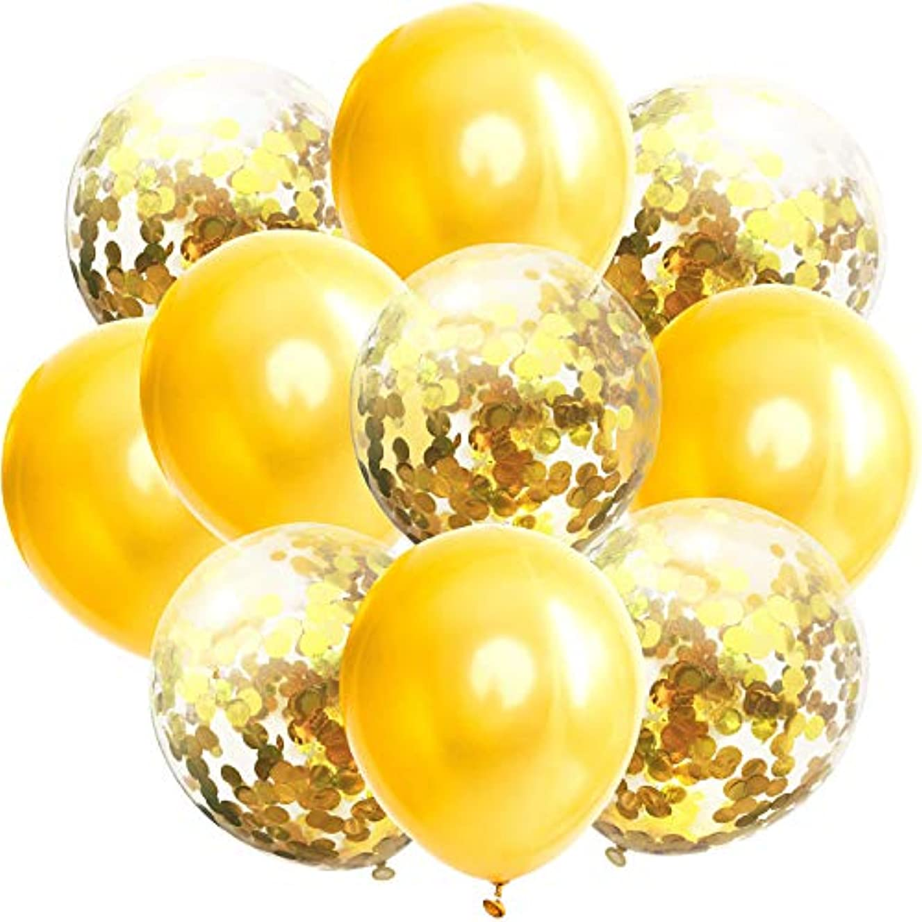 50 Pcs New Year Confetti Balloons Gold and Gold Sequins 12