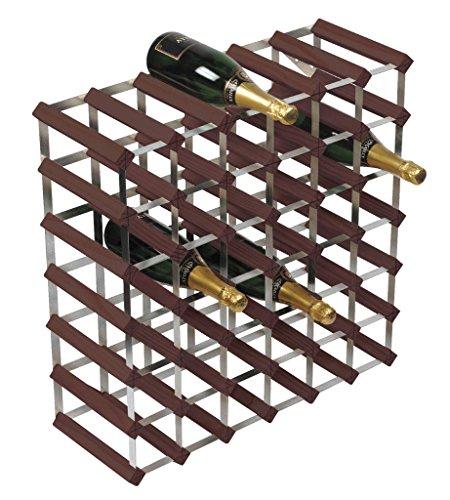 RTA Estante de Vino Tradicional de 42 Botellas de Pino Oscuro Completamente ensamblado (FSC)