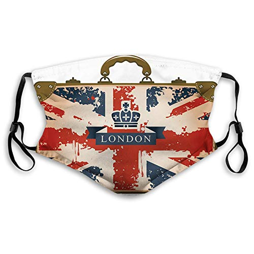 Mouth Face Mask Anti Breathable Absorb Sweat Masks for Cycling Camping Outdoor Adult Vintage Travel Suitcase with British Flag London Ribbon