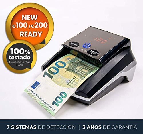 HILTON EUROPE HE-300SD Detector de Billetes Falsos actualizable con 7 sistemas de detección actualizado a los nuevos billetes 100 y 200 € sin batería