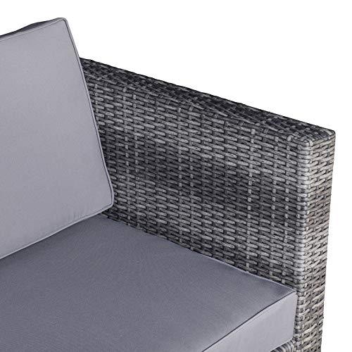 Outsunny 8-TLG. Polyrattan Gartengarnitur Gartenmöbel Garten-Set Sitzgruppe Loungeset Loungemöbel Beistelltisch als Aufbewahrungskorb Grau Stahl + Polyester 58 x 58 x 37 cm - 9
