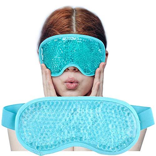 Máscara de ojos hielo para durmiendo,Cuentas de gel Paquete para ojos,Terapia de frío y calor para Círculos oscuros,Ojos secos,Sueño relajante,Migrañas,Dolores de cabeza,Alivio del estrés