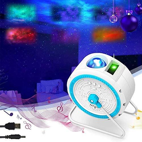 ZRBD-ds 3 En 1 Luz Nocturna Estrellada LED, Estrella del Proyector Lámpara Colores Luces Máquina Sonido con El Altavoz Bluetooth para La Fiesta del Juego De La Habitación De Los Niños En Navidad