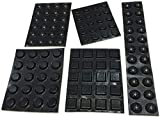 Black Adhesive Bumper Pads Combo (Round, Spherical, Square) - Made in USA - Rubber Feet for Cabinet Doors, Drawers, Laptops, Electronics, Small Appliances, Glass Tops, Picture Frames, Cutting Boards