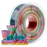 3D Printer PLA Filament 1.75, Rainbow Filament Color Changing PLA Filament 1.75mm, Fit FDM 3D Printer, 1KG Spool, Dimensional Accuracy +/- 0.02 mm, PLA Rainbow Multicolor