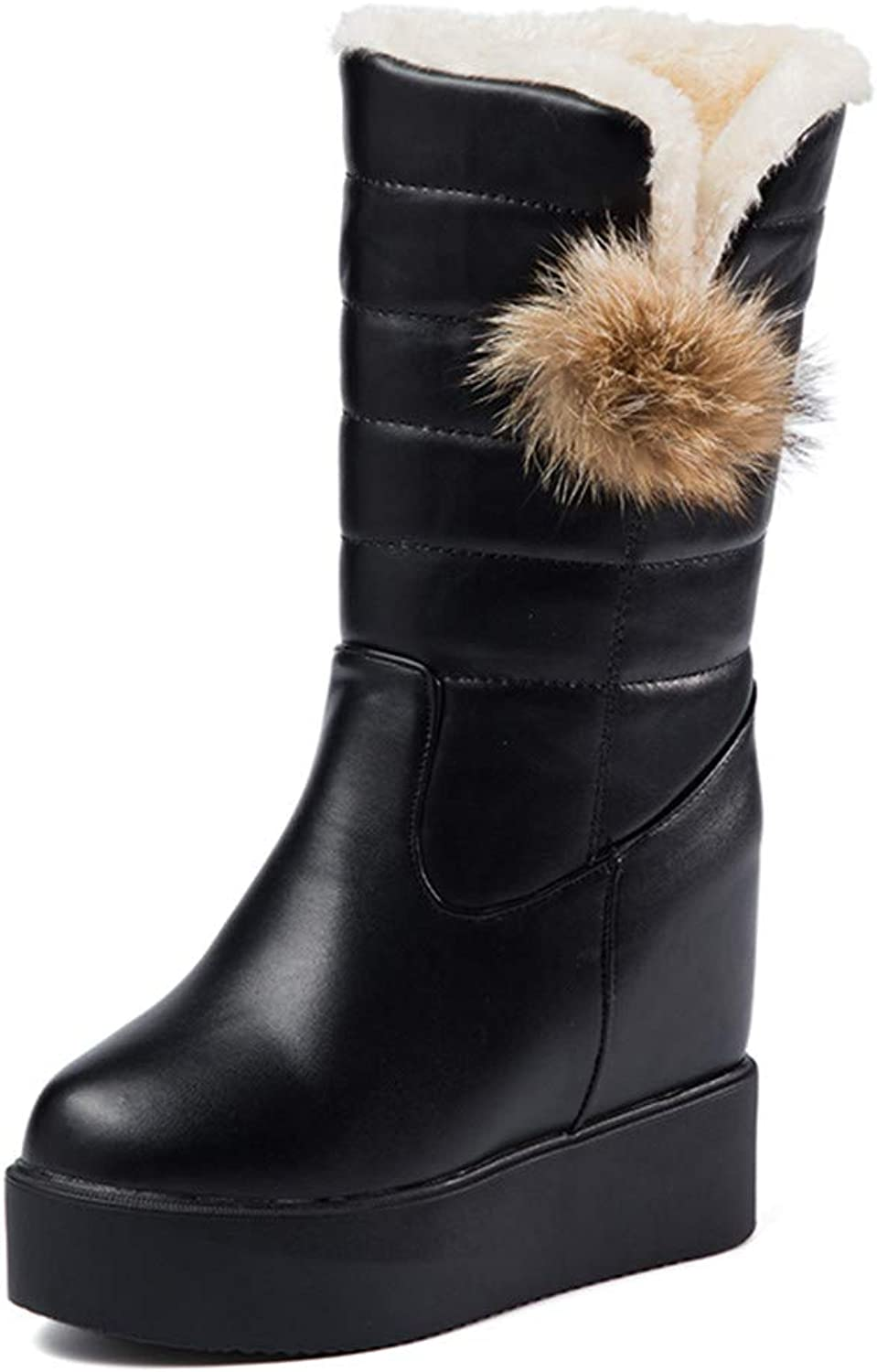 R-Anketsy Women Classic Snow Boots Slip On Warm Thick Fur Winter Boots Platform Ladies Mid Calf Cotton Boots