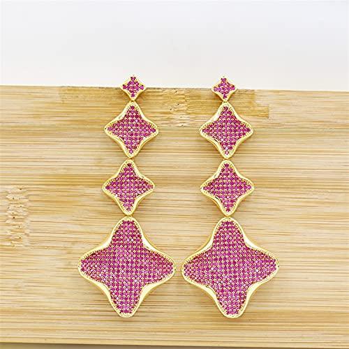 ACEACE Pendientes Colgantes de Oro, aretes de joyería de Borla de Oro Rosa, Fiesta de Bodas for Damas Elegantes y Hermosos Accesorios (Metal Color : 4)