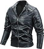 LILIXINGSH Chaqueta de moto para hombre, chaqueta de cuero para hombre, para motocicleta, cuello alto, forro polar, para otoño, invierno, clásico, con cremallera (color: azul oscuro, tamaño: L/grande)