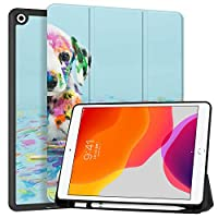 """MAITTAO iPad 10.2"""" 2019 Case with Apple Pencil Holder,Folio Stand Smart Cover Shockproof Soft TPU Back Shell For iPad 7th Generation 10.2 inch Tablet Sleeve Bag 2 in 1 Bundle,Cute Dog 7"""