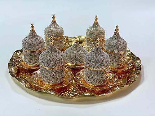 Grand Gifft Handmade Copper Turkish Coffee Espresso Serving Set Swarovski Crystal Coated Cup (Upper Crust) V.i.p Product