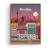 FUXUERUI Cartel de turismo vintage Berlín Cityscape Canvas Wall Art Print Poster e imágenes Pintura colgante para decoración de habitaciones,40x60cm sin marco