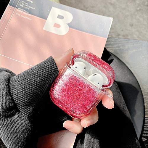 Ysimee AirPods 1/2 Glitzer Hülle, Bunt Flüssig Treibsand Glitter Hart Case Hülle kompatibel mit Apple AirPods 1/2 – 360 Grad Voller Schutzhülle [Unterstützt Kabelloses Laden] (ohne Karabiner, Rosa)