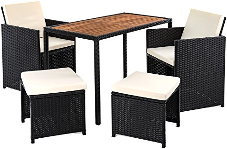 ESTEXO Polyrattan Sitzgruppe für 4 Personen, Farbe Schwarz, Garten Lounge aus Rattan, Gartenmbel Set mit 4 Sitzpltzen