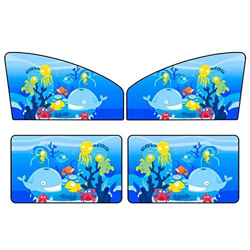 KIMISS ki06831 zonnescherm voor in de auto, set van 4 autogordijnen, voor achter, zonwering, anti-uv-zonnebril, magnetisch zonnevizier, cartoon <br/>