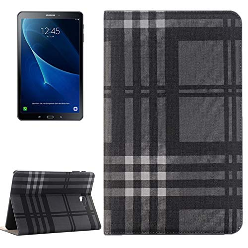 A+Xu Jie Para Samsung Galaxy Tab A 10.1 / T580 Lattice Stripes Texture Horizontal Flip Funda de Cuero con Soporte y Ranuras para Tarjetas y Billetera (Color : Dark Blue)