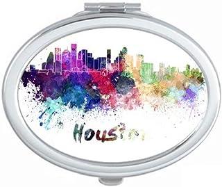 Houston America City Watercolor Mirror Portable Fold Hand Makeup Double Side Glasses