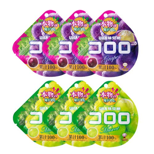 UHA味覚糖 コロロ(グレープ 3コ・マスカット 3コ 計6コ)セット おかしのマーチ