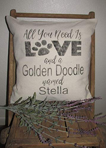 Farmhouse Throw Pillow Cover~18X18~ALL YOU NEED IS LOVE AND A (DOG BREED) Named (DOGS NAME)-Personalized
