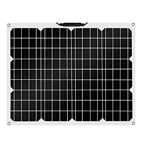 Betop-camp Panel Solar Fotovoltaico ETFE Monocristalino Semi Flexible de 50W Flex para RV, Barco, Tienda, Automóvil, Remolque, Batería 12V o Cualquier otra superficie Irregular