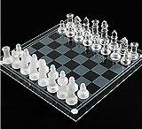 NANDAN Schachbrett-Satz, K9 High-End-Glas Schachfiguren Set Gepolsterter Boden Intelligenz Strategie-Schach-Spiel Für Kinder Erwachsene (Größe: Small Medium Large),Medium
