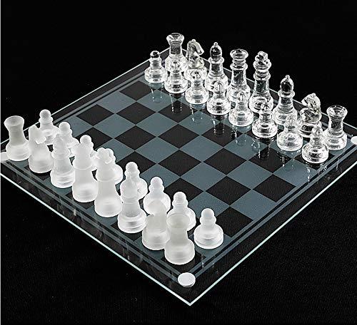 NANDAN Schachbrett-Satz, K9 High-End-Glas Schachfiguren Set Gepolsterter Boden Intelligenz Strategie-Schach-Spiel Für Kinder Erwachsene (Größe: Small Medium Large),Large