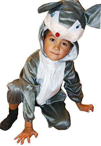 Fun Play - Disfraz de Ratoncito para niños - Disfraz de Animal - Mono de una Pieza para Niños y Niñas - Disfraz para niños de 5-7 años (122cm)