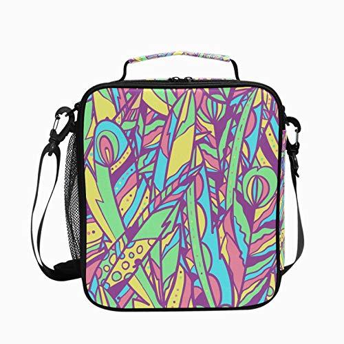 Bolsa de almuerzo con aislamiento de plumas coloridas de estilo étnico para mujer, bolsa de picnic de gran capacidad, con correa para el hombro, bonita lonchera escolar para niños y niñas