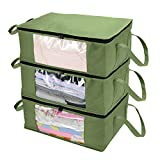 CCidea 3Pack Clothes Organizers Storage Bag, with Reinforced Handle,Great for Comforters,Blankets,Bedding,Under Bed Storage Bags (Medium Green)