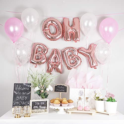 "OH Baby Balloon Rose Gold 7""  Pack of 7 Latex Baby Balloons  Baby  Balloon Letters for Girl Baby Shower Decorations (Rose Gold)"