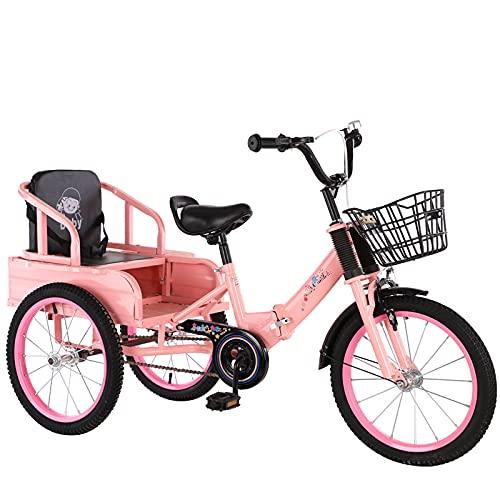 RSTJ-Sjef Triciclo Plegable De 16 Pulgadas para Niños, Bicicletas De Crucero Portátiles De Acero con Alto Contenido De Carbono con Asiento Trasero Y Canasta, Adecuado para Ejercicio Y Jueguen,Rosado