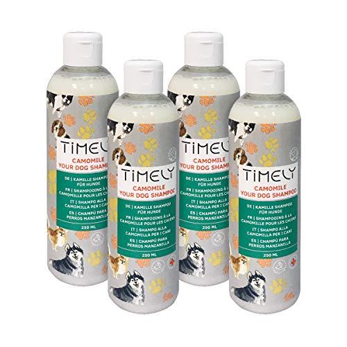 Timely, shampoo per cani camomilla, delicato ma intensivo per pelo ruvido e secco, confezione da 4 x 250 ml