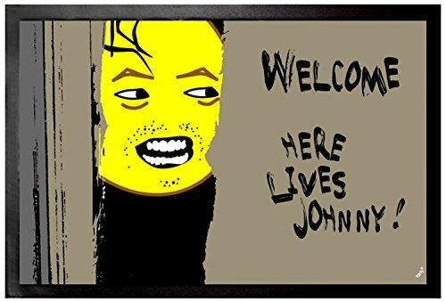 1art1 Emoticonos - Emoji Shining, Welcome, Here Lives Johnny Felpudo Alfombra (60 x 40cm)